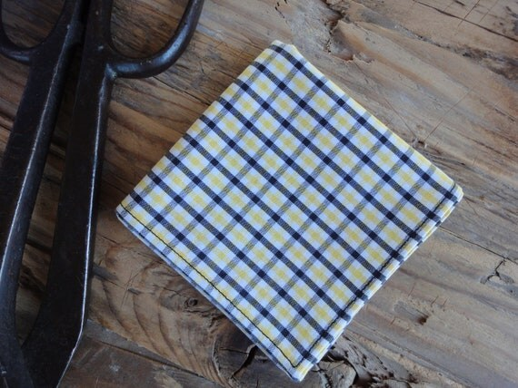 Men's Pocket Square or Handkerchief in Yellow and Black Gingham Check
