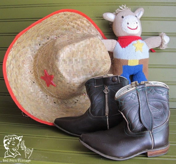 Vintage Baby Brown Leather Cowboy Boots