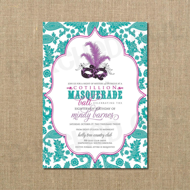 Cotillion Masquerade Ball Birthday Invitation Masquerade – Masquerade Birthday Invitations
