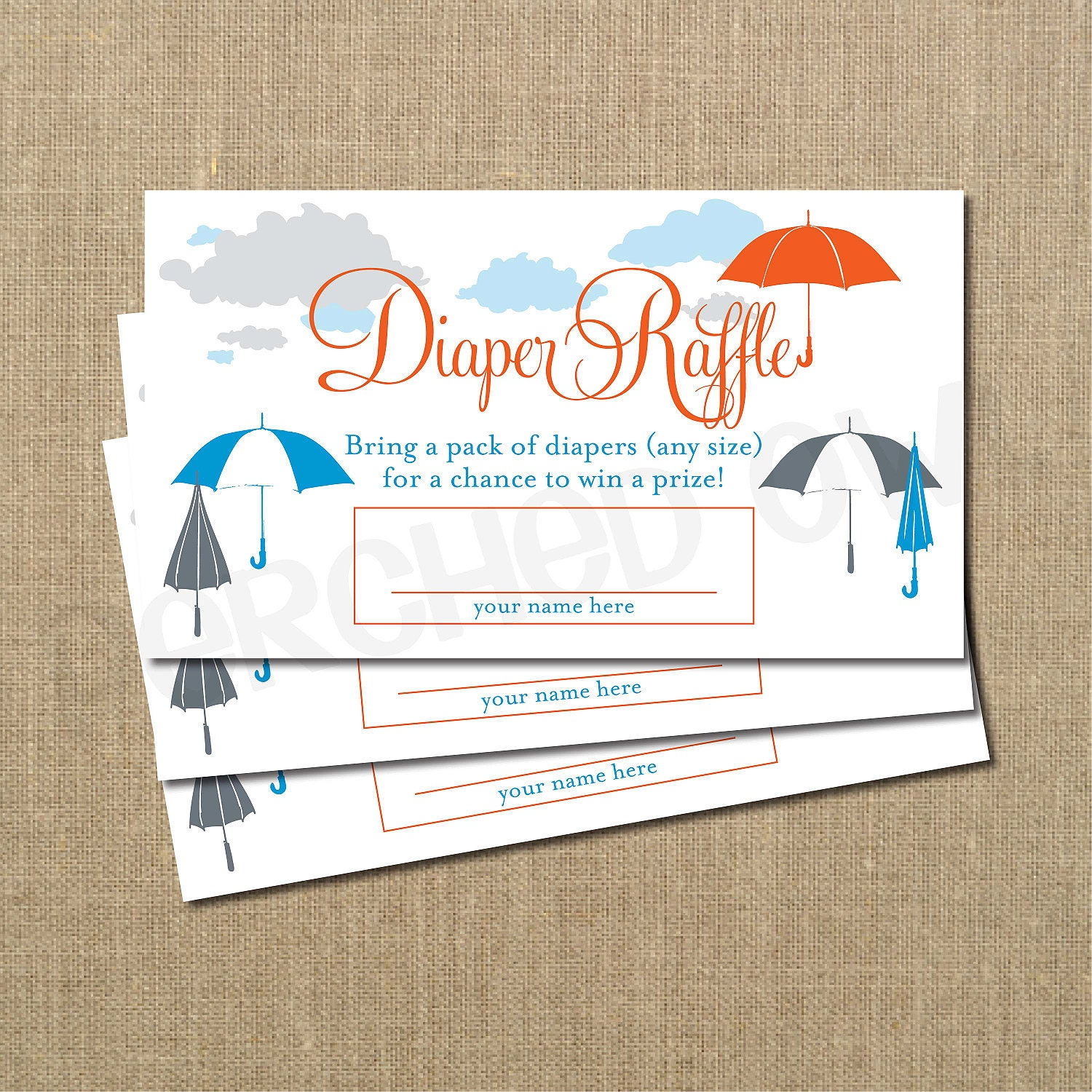 Baby Shower Diaper Raffle: INSTANT DOWNLOAD Umbrella Baby Shower Diaper Raffle Ticket