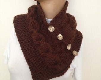 chocolate brown neckwarmers with button,Chunky Scarf ,scarves,fall fashion,winter accessories,autumn,Knitting