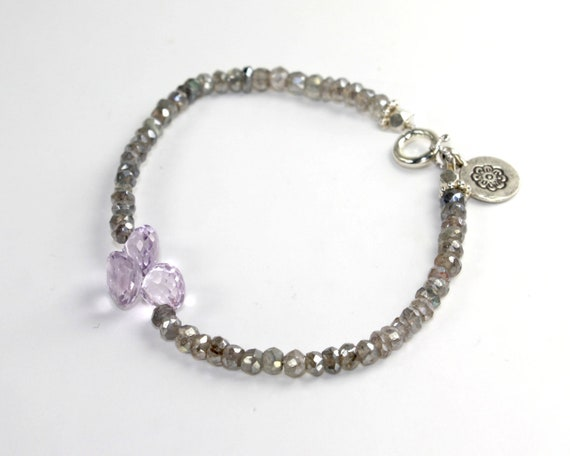 Sale . Gurlcha stacking bracelet: Friendship bracelet with pink amethyst and labradorite,shades of Silver purple and grey