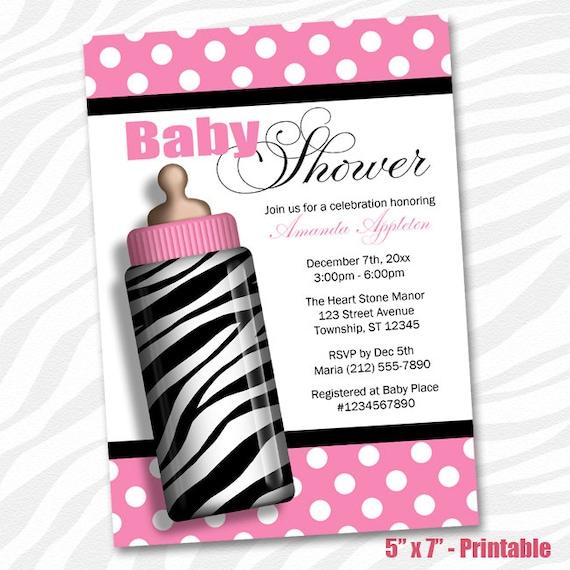 printable zebra baby shower invitations zebra print baby bottle pink