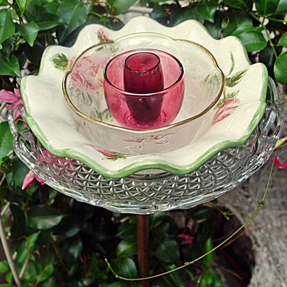 FLORAL Garden Yard Art, Glass Plate Flower, Garden Decor, Garden Gift, glass garden ornament, Suncatcher, Recycled, green pink, Bird Feeder,