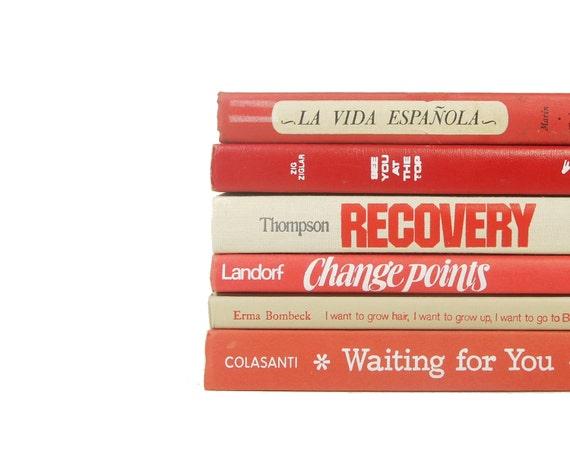 SALE - FRONT PAGE Decorative Books, Book Collection, Wedding Decor, Interior Design, red orange coral