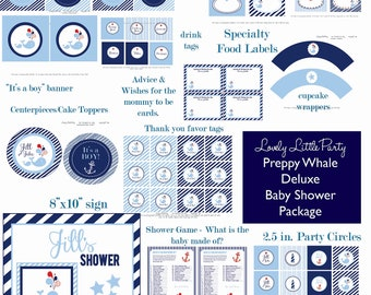 Personalized Printable Preppy Whale Baby Shower Package - LOVELY LITTLE PARTY