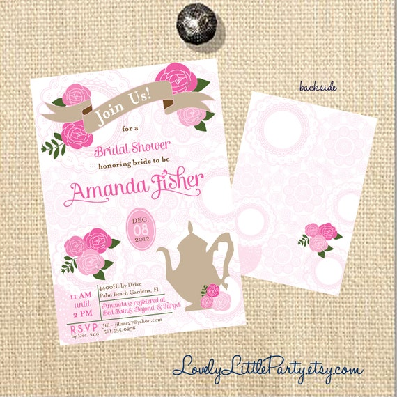 DIY Printable Vintage Floral Tea Bridal Shower Invitation  - Lovely Little Party