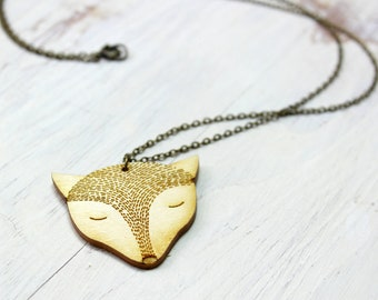 FOX wood necklace
