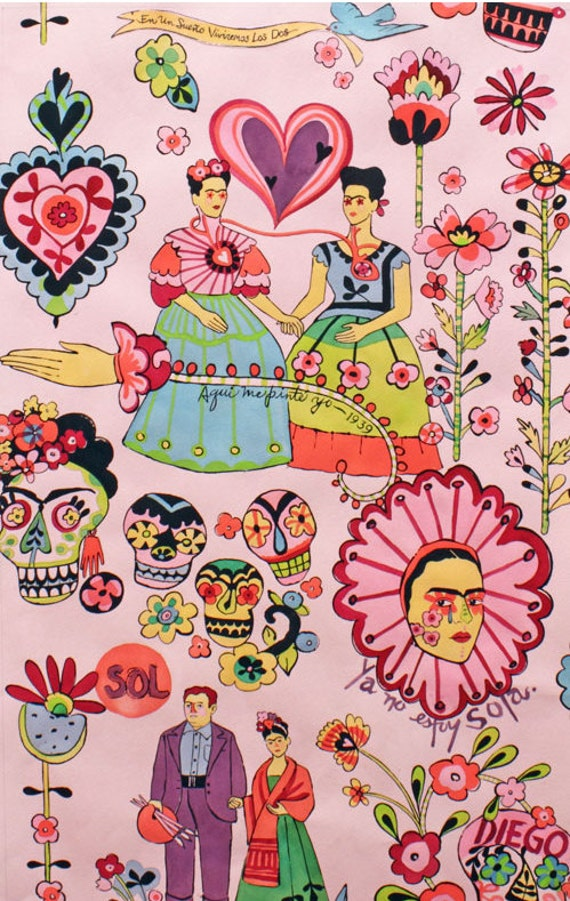 Dos Fridas (Pink) - Alexander Henry Fabric - 1 Yard