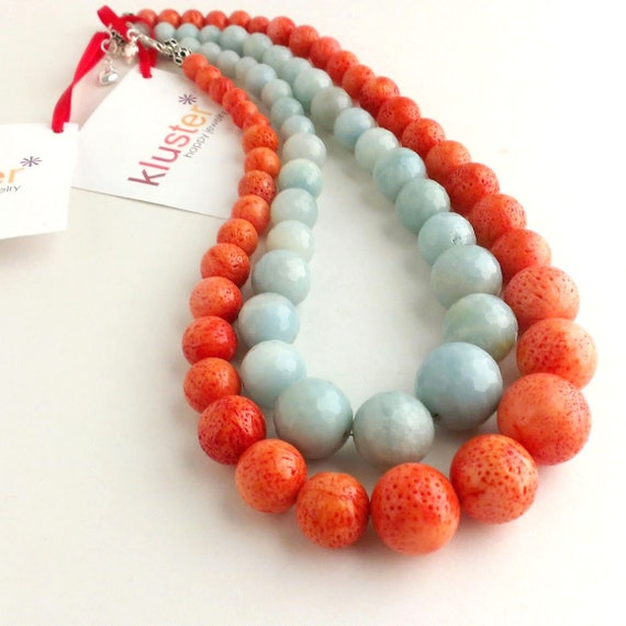 Coral Statement Necklace by Kluster. Orange Necklace. Aqua Necklace. Pastel Blue Turquoise Necklace. Chunky Statement Necklaces. Set of 2.