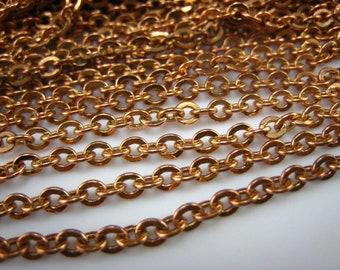 pure brass raw flat oval link chain 3mm chain,12 feet