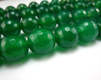 green agate faceted round bead 10mm 15 inch strand