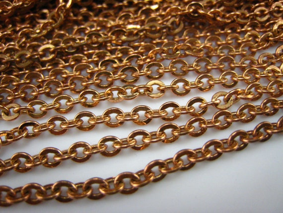 pure brass raw flat oval link chain 3mm chain,12 feet