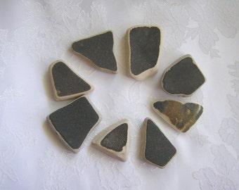 Dark Brown Beach Pottery Ceramic China Shards