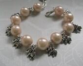 Dainty Elephants Pearl and Charm Bracelet