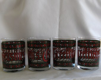 """Houze Christmas Double Old-Fashioned """"Seasons Greetings"""" (Set of Four) in Excellent Condition"""