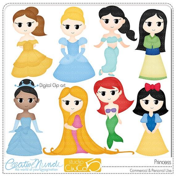 Items similar to Princess Cliparts - Digital Clip Art ...