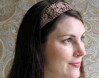 Brown Beige Taupe Bronze Lace Knit Headband