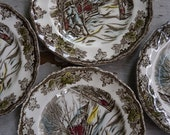 Vintage Johnson Bros Friendly Village Bread and Butter Plates Sugar Maple Set of 4