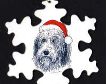 Bearded Collie with Santa hat Christmas ornament