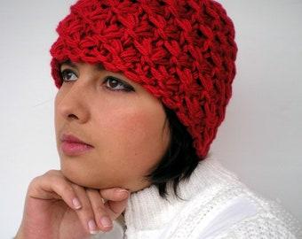 Star Knit  Hat  Chunky Woman Beanie Hat  Fashion Chunky  3D Texture Fall Winter Women NEW
