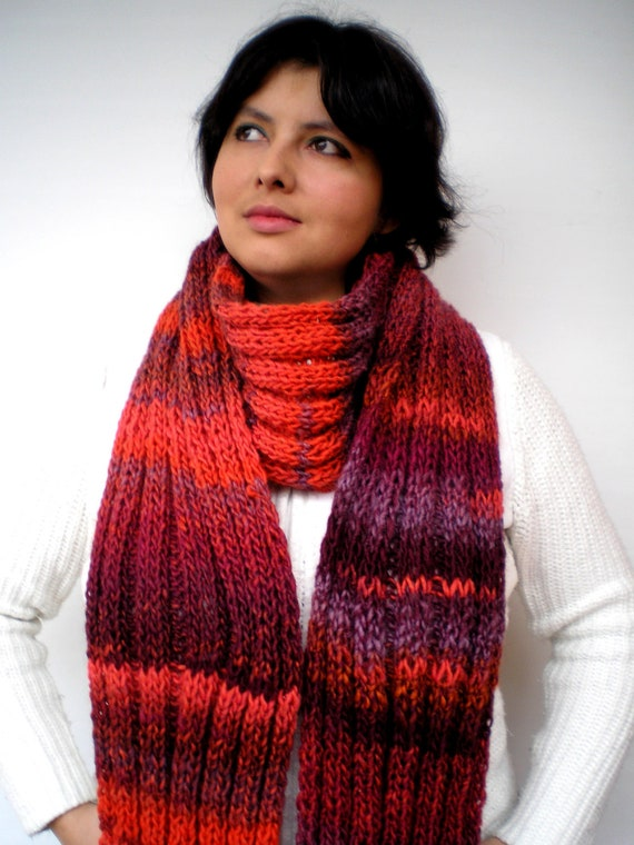 SALE Red  Waves Scarf Soft  mixed Wool  Fashion Woman/Men Hand Knit Extralong Scarf Fall Winter
