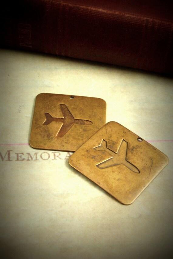 2 Airplane Tags - Artisan Brass Embellishments