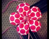 Hot Pink and White Polka Dot Flower Hairbow with Elastic Headband...Girls Hairbows...Baby/Infant Headbands...Headband