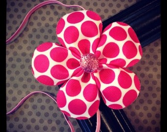 Hot Pink and White Polka Dot Flower Hairbow with Elastic Headband...Girls Hairbows...Baby/Infant Headbands...Headband