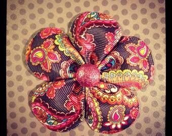 Brown Paisley Pattern Flower Hairclip...Girls Hairbows...Baby/Infant Hairbows...Hairbows...Hairclips