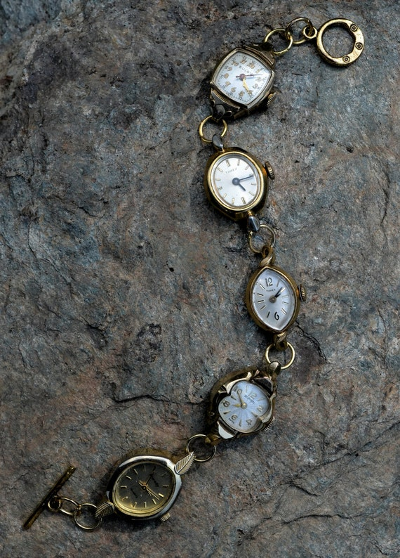 Recycled Vintage Jewelry Ladies Watch Bracelet OOAK Steam Punk Art 5 Different Faces Gold Plated Bulova