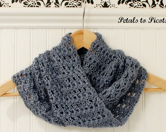 Mobius Scarf Knitting Pattern Infinity : Crochet Pattern Textured Keyhole Scarf with Spiral Flower