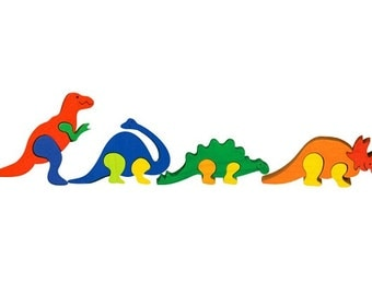 Packege of 4 pieces-Montessori-Waldorf maple wood puzzles- Dinosaurs