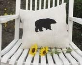 "15""x16"" Burlap Bear Pillow-Wildlife Collection-Choose Your Colors-Rustic/Folk/Country/Woodland-Cabin Decor-Lodge Decor-Mountain Home Decor"