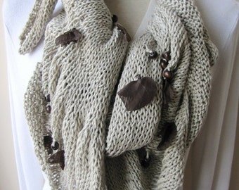 Oatmeal brown Scarf-women's scarves-boho chic-Woman winter fashion-neck warmer-Winter scarf-accessory-gifts for her- beaded fringe scarves