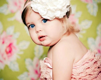 Large White Fabric and Lace Childrens Headband Photography Prop