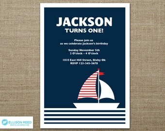 Nautical Invitation - Nautical Birthday Invitation - Sail Boat Invitation - First birthday - 1st birthday - Boy Birthday - Girl Birthday
