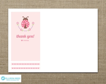 Ladybug printable - Ladybug Birthday - Ladybug Thank You Note - Ladybug decorations - Printable Party - flowers - pink - polka dots