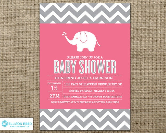 chevron elephant baby shower invitation  elephant baby shower, Baby shower