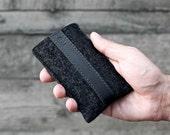 iPhone 6s Plus / Phone 6 Plus Sleeve / Case - Vegetable Tanned Italian Leather and Merino Wool Felt, Smokey Grey / Black