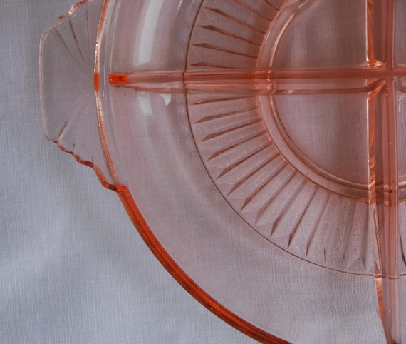 Vintage pink depression era 1930s glass snack, relish or candy dish