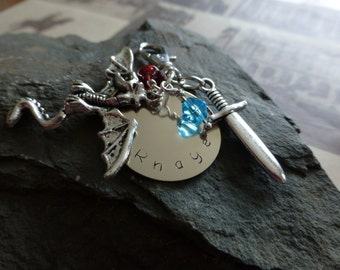 Handmade Black dagger brotherhood Rhage inspired keychain, Lover Eternal, Hand stamped metal