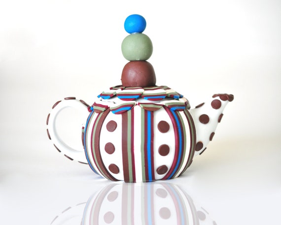ON SALE! Polymer Clay Teapot 3D Art Deco, Modern, Blue, Burgundy, Brown, Green, Dots and Stripes