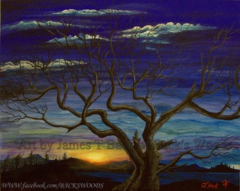 Melancholy Oak Original Arcylic Painting Print Sunset bare tree color Autumn Twlight
