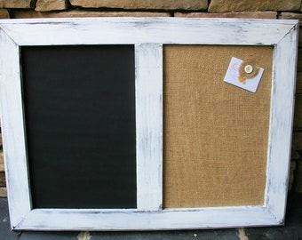 "30x22"" White distressed Style Frame Chalk Board & Cork board"