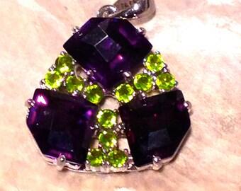 Purple and Green CZ Sterling SIlver Destash Pendant
