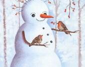 Snowman Art Print High Quality Color Art Print