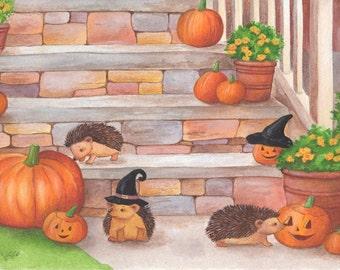 Halloween Art, Pumpkins, Hedgehogs, print from an original acrylic illustration by Irene Owens