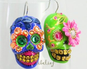 Skull new shap the day of the dead skull sunflower & skull cobalt blue earrings