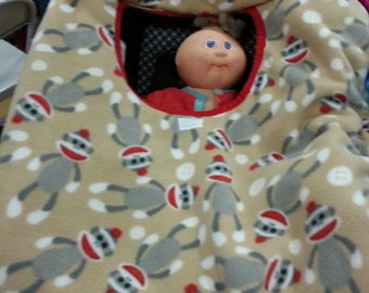 Fleece Sock Monkey Baby Carrier Cozy Cover Up for Infant Car Seats
